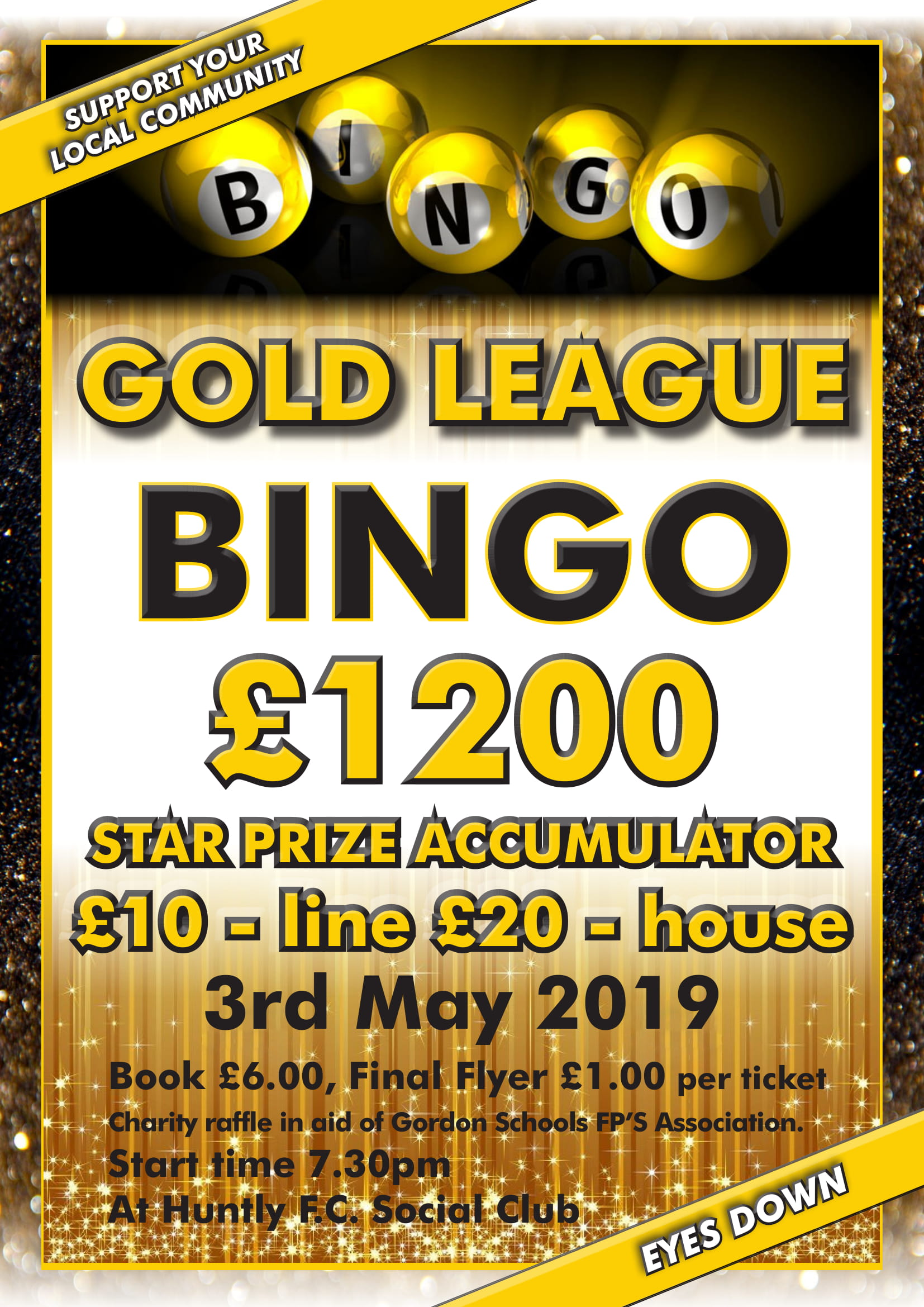 Gold League Bingo: £1200 star prize accumulator